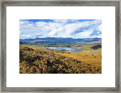 Framed Print featuring the photograph View Of Lough Acoose In Ballycullane From The Foothill Of Macgil by Semmick Photo