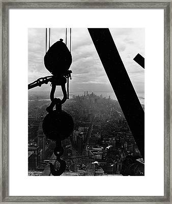 View Of Lower Manhattan From The Empire State Building Framed Print by LW Hine