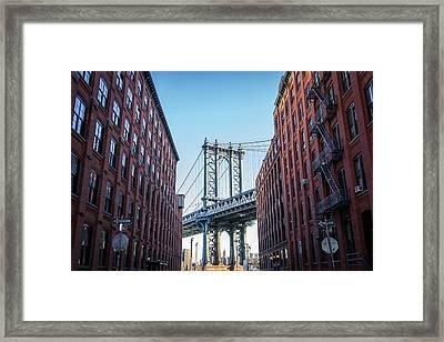 View Of Manhattan Bridge Framed Print by Mike Burgquist