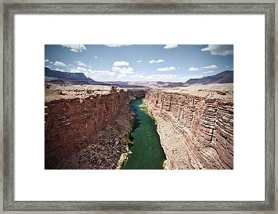 View Of Marble Canyon From The Navajo Bridge Framed Print by Ryan Kelly