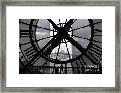 View Of Montmartre Through The Clock At Museum Orsay.paris Framed Print by Bernard Jaubert