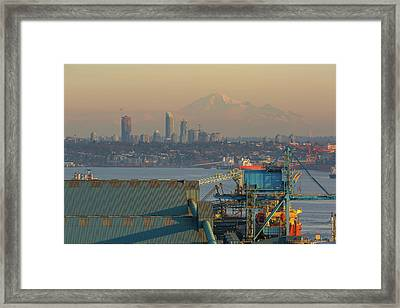 View Of Mount Baker And Vancouver Bc At Sunset Framed Print