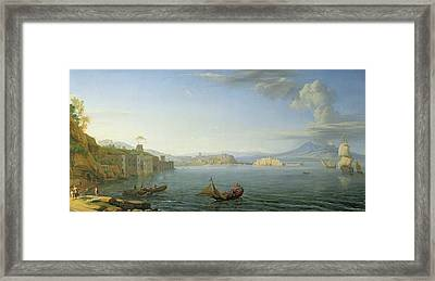 View Of Naples Framed Print by Adrien Manglard
