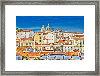 View Of Old Alfama Framed Print by Julie Palencia