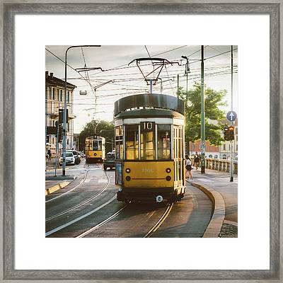 View Of Old Yellow Tram In Milan, Italy Framed Print