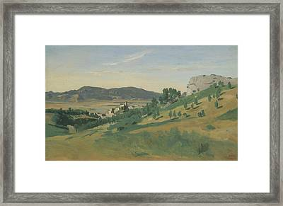 View Of Olevano Framed Print by Jean-Baptiste-Camille Corot