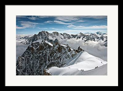 Snow On Mountains Framed Prints