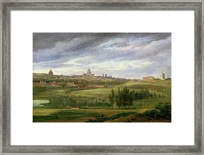 View Of Paris From Butte Aux Cailles Framed Print by Jean Baptiste Gabriel Langlace
