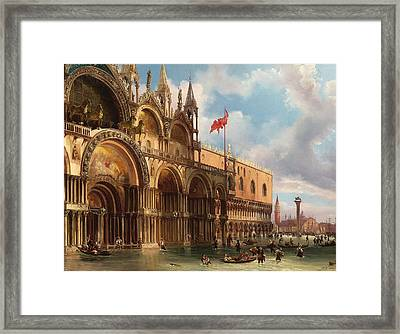 View Of Piazza San Marco, Venice With The Acqua Alta Framed Print by Federico Moja