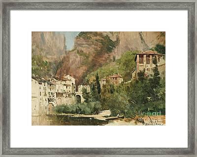 View Of Pont En Royans Framed Print
