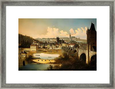 View Of Prague With The Charles Bridge Crossing The Vitava River Framed Print