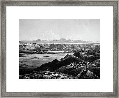 View Of Rocky Mountains In Distance Framed Print by Douglas Barnett