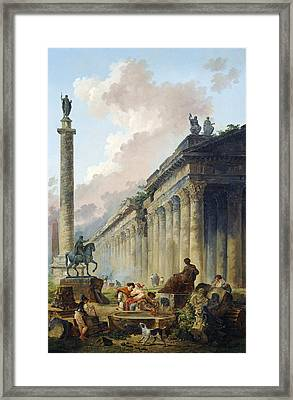 View Of Rome With Equestrian Statue Of Marcus Framed Print