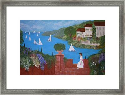 View Of Sailboats Framed Print by Anke Wheeler