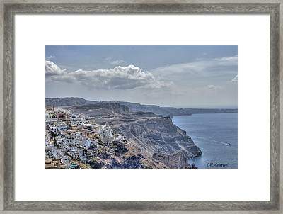 View Of Santorini Framed Print by CR  Courson