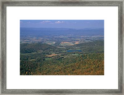 View Of Shenandoah Valley And The Town Framed Print by Raymond Gehman