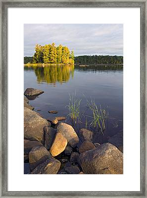 View Of Small Island From Rocky Shore Framed Print by Panoramic Images