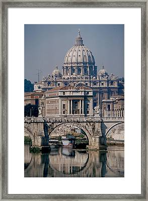 View Of St Peters From Tiber River Framed Print by Carl Purcell