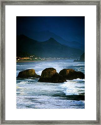 View Of Storm Over Cannon Beach From Framed Print by Panoramic Images