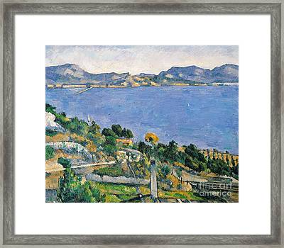 View Of The Bay Of Marseilles Framed Print by Paul Cezanne