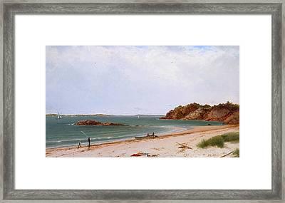 View Of The Beach At Beverly Massachusetts Framed Print by John Frederick Kensett