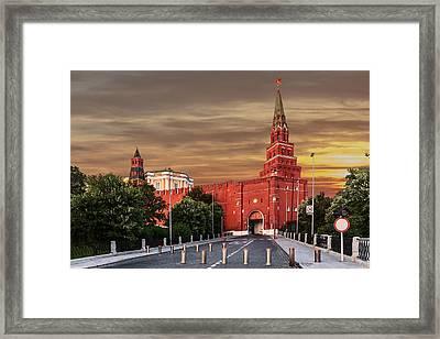 View Of The Borovitskaya Tower Of The Moscow Kremlin Framed Print