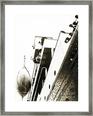 View Of The Bottom Of One Of The Titanic Lifeboats From The Dock Framed Print by English School