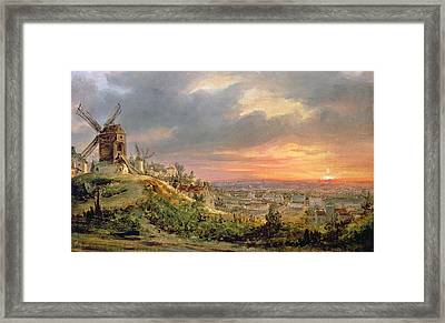 View Of The Butte Montmartre Framed Print by Louis Jacques Mande Daguerre