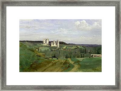 View Of The Chateau De Pierrefonds Framed Print by Jean Baptiste Camille Corot