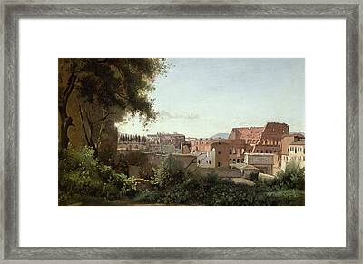View Of The Colosseum From The Farnese Gardens Framed Print by Jean Baptiste Camille Corot