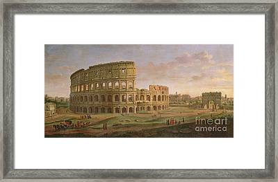 View Of The Colosseum With The Arch Of Constantine Framed Print