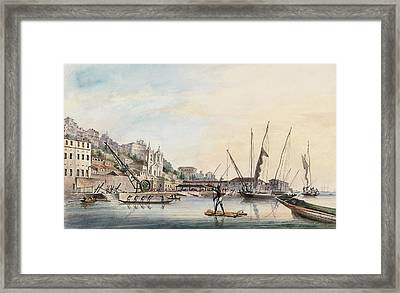 View Of The Dockyard, At Bahia Or San Salvador  Framed Print by Thomas L Hornbrook