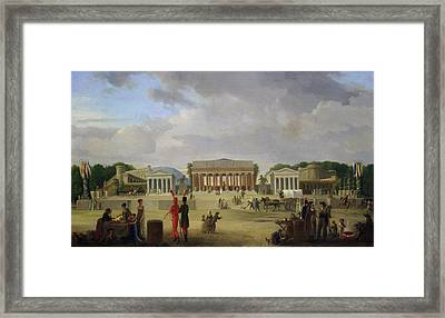 View Of The Grand Theatre Constructed In The Place De La Concorde For The Fete De La Paix Framed Print by Jean Baptiste Louis Cazin
