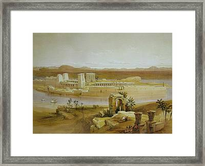 View Of The Island Of Philae With Isis Temple And Trajan's Kiosk, In The Nile, Nubia Framed Print by David Roberts