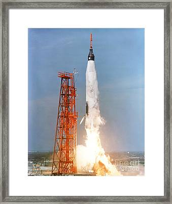 View Of The Liftoff Of Mercury-atlas 5 Framed Print