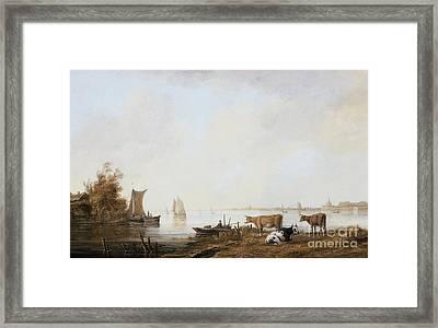 View Of The Maas Near Dordrecht Aelbert Cuyp Framed Print