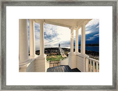 View Of The Marshall Point Lighthouse From The Keeper's House Framed Print by George Oze