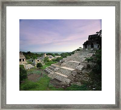 View Of The Mayan Ruins At Palenque Framed Print by Kenneth Garrett