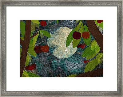 View Of The Moon And Cherries Growing On Trees At Night Framed Print by Jutta Kuss