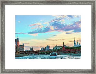View Of The Moscow River, The Moscow Kremlin And The Moscow International Business Center  Framed Print by George Westermak