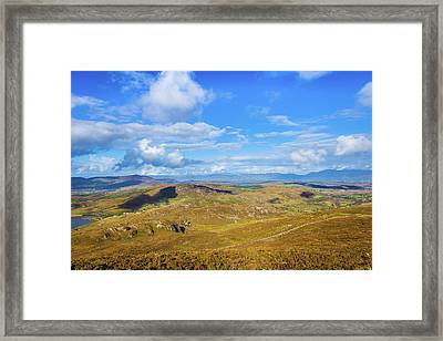 Framed Print featuring the photograph View Of The Mountains And Valleys In Ballycullane In Kerry Irela by Semmick Photo