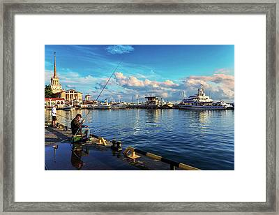 View Of The Naval Station Us And The Main Sea Channel Of The Port Of Sochi Framed Print