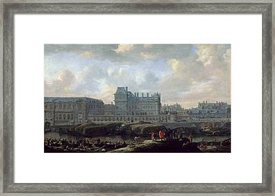 View Of The Old Louvre And Small Bourbon  Framed Print