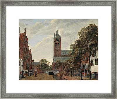 View Of The Oude Delft Canal Framed Print by Jan Van der Heyden