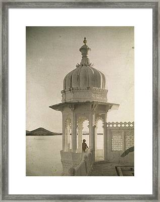 View Of The Palace Of Maharajas Pond Framed Print by Gervais Courtellemont