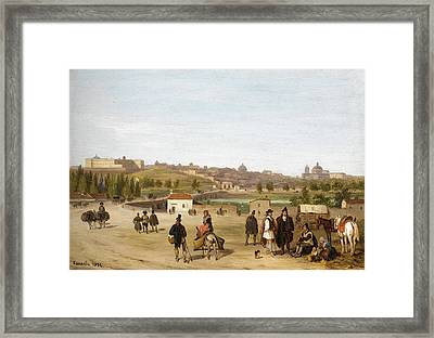 View Of The Palacio Real And San Francisco El Grande. Madrid Framed Print by Giuseppe Canella
