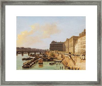 View Of The Passerelle Des Arts And The Louvre Framed Print by Celestial Images