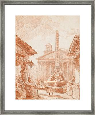 View Of The Piazza Della Rotonda In Rome With The Tritons Fountain And The Pantheon Facade Framed Print
