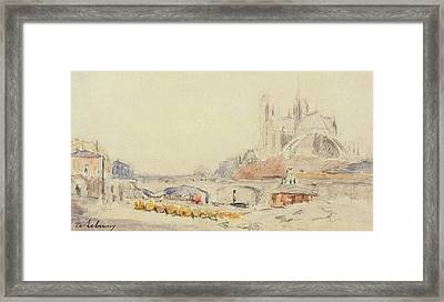 View Of The Pont De La Tournelle And Notre-dame De Paris Framed Print by Albert Charles Lebourg