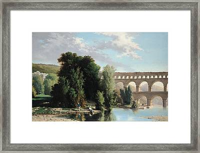 View Of The Pont Du Gard Framed Print by Henri Marie Poinsot